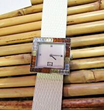 Marc Ecko Bling Bezel White Leather Band Women's Watch GREAT CONDITION F101