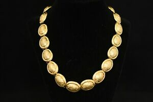 EXQUISITE MODERNIST SOLID STERLING NECKLACE GOLD TONE - BEAUTIFUL