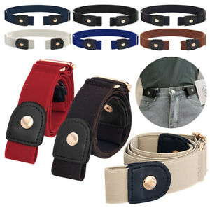 Stretch Waist Belt Women/Men Buckle-free Elastic Belts for Jeans Pants Dresses