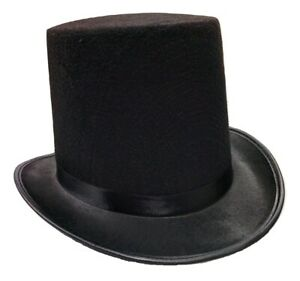 Adult Tall Deluxe Felt Top Hat Black One Size Halloween Costume Accessory