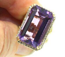 Designer Amethyst Diamond Ring tcw 27.45 14ky Gold Size 6.5