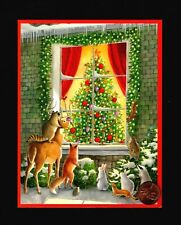 Caspari Christmas Tree Fox Deer Raccoon Owl Rabbits - Greeting Card W/ Tracking