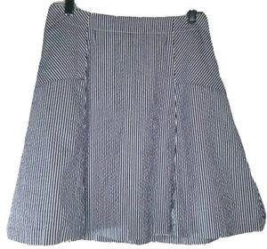 Loft Skirt petites XS extra small sz 0P blue/wht. Lined. Zip Back.