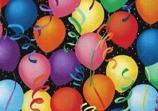 Colorful Balloons Floating-Black B/G-Hoffman Fabrics-Birthday-Confetti-Baby