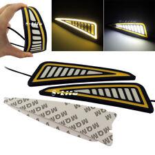 Car LED Bumper Strip COB Daytime Running Light DRL Yellow Turn Signal DayLight