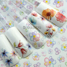 10 Sheets Lovely Beauty Daisy Floral Nail Art Water Transfer Sticker Decal Tip F