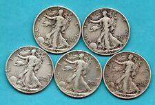 More details for 5 x usa silver half dollar coins, 1935 - 1943. philadelphia mint. job lot.