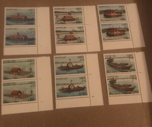 6 Mint Blocks Of 2 Stamps From Laos 1982 Ships
