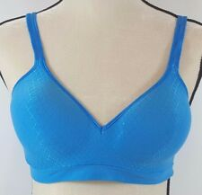 Hanes Ultimate Perfect Coverage Bra L Large Blue Wire Free Comfort DHHU08 NEW