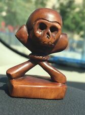 JAPANESE NETSUKE Skull wood MEMENTO MORI Button Stand Signed
