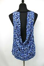 Juicy Couture Flowy Top Shirt size XL Black Blue Open Draped Back Sleeveless