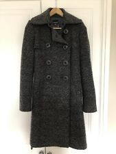 Miss Sixty Long Grey Winter Coat Size SMALL - Detachable Red Fur Collar BNWOT
