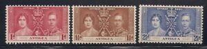 Antigua  1937   Sc #81-83   Coronation   MLH   OG   (5002-)