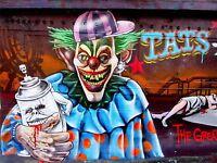 ART PRINT POSTER PHOTO GRAFFITI MURAL STREET ZOMBIE CLOWN NOFL0366