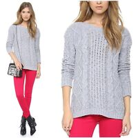 MADEWELL Small Pullover Sweater Cable Knit Gray Boat Neck Tunic Angora Women's S