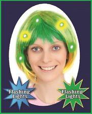 FLASHING LED Green Yellow BOB WIG Australia Brazil Commonwealth Olympic Carnival