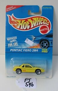 Hot wheels HW Pontiac Fiero 2M4 Yellow collector #463 FNQHotwheels FJ596