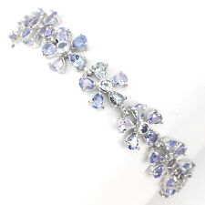 73.44ct GENUINE BLUE VIOLET TANZANITE  14K ON 925 SILVER TENNIS BRACELET SIZE 7