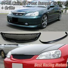 RS Style Front Bumper Lip (PP) + TR Style Grill (ABS) Fit 01-03 Civic 2/4dr