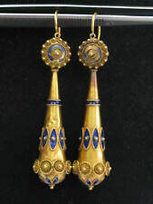 18Kt Vintage Blue Enamel Yellow Gold Drop Earrings 2.5""