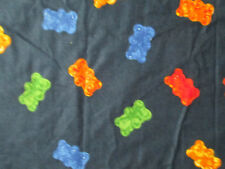 GUMMY BEAR COLORS CANDY BLUE COTTON FLANNEL FABRIC FQ
