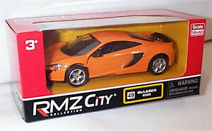 "McLaren 650S in Orange RMZ City 5"" Diecast Pull Back & Go New Boxed"