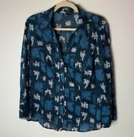 Ann Taylor Women's Shirt Size 16 Blouse Top 3/4 Sleeves 100% Cotton Casual Work