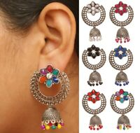 Indian Oxidized Silver Jhumka Earrings Pearl New Designer Bollywood Jewelry Set