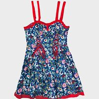 Joe Browns Blue Red Pink Floral Lace Up Detail Strappy Frill Mini Dress 16 -B34