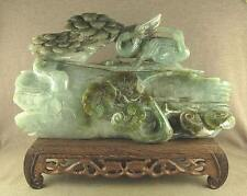 "8.2""LARGER CARVED CHINESE ANTIQUE JADEITE JADE STATUE WITHERED TREE PINE CRANE"