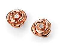 D for Diamond Baby/Childrens Jewellery Rose Gold Plated Rose Stud Earring New