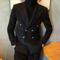 Men's Suits Double-Breasted Black Corduroy Wide Peak Lapel Formal Wedding Tuxedo