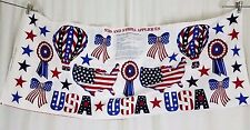 Usa Stars and & Stripes Print Appliques Cotton Fabric Panel Patriotic 4th July