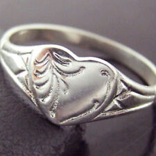 RING SIGNET 925 STERLING SILVER SOLID ANTIQUE ENGRAVED HEART DESIGN SIZE  N  7