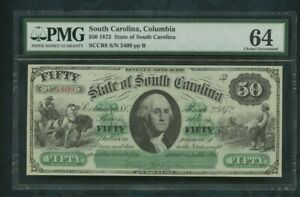 1872 $50  dollars  South  Carolina, Columbia     PMG 64