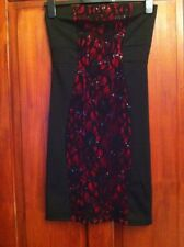 Peacocks Sleeveless Lace Effect Panelled Body Con Dress Red & Black Size 8 (B35)