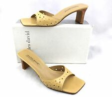 $130 CHARLES DAVID Conga Tan Eyelet Cut Out Slides Sandals Mules Heels 11 New