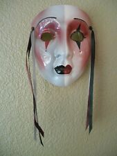 """Vintage but NEW About Face Clay Art Ceramic Wall Mask """"Harlequin"""" Clown"""