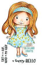 New La La Land Crafts SUMMER DRESS MARCI Rubber Stamp Girl Hello Happy Hair Fun