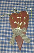 "9"" Rustic Primitive Red Heart w/ Pip Berries Classic Country Home Decor"