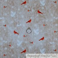 BonEful FABRIC FQ Cotton Quilt Brown White Dove Xmas Forest Tree Red Cardinal US