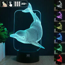 LED illusion DOLPHIN 7 Color table Night Light Lamp Birthday Gift Holiday