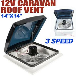 """14"""" x 14"""" Roof Vent Crystal Turbo Fan Camper Van Motorhome Caravan 12V"""