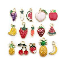 30pc Mixed Enamel Apple/Pineapple/Cherry/Peach Enamel Charm Pendant DIY Craft