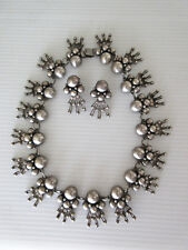1940s Los Ballesteros Mexican Silver 925 Necklace Earrings Set Aguilar Design