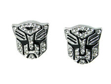 Transformer Autobot Stud Earrings White Crystal Silver Tone 5x5 mm