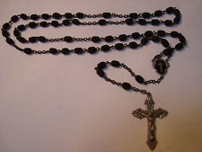 FRENCH Antique Victorian ROSARY BEADS Bog Oak & Sterling Silver Crucifix & Medal