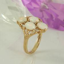 Ring in 585 Gelbgold 14K mit 4 weißen Opal Edelsteinen  Cabochons - Gr. 53