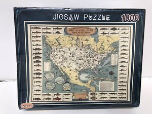 Fishing Map Jigsaw Puzzle 1000 Big Game Fish Complete Map Illustrated New B07
