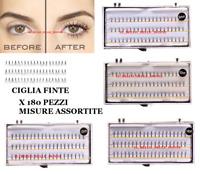 CIGLIA FINTE 180 PEZZI  8-10-12-14mm -Nero  Ciglia Extension TRUCCO CIGLIA